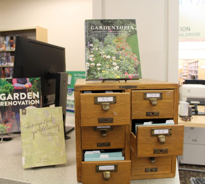 The seed library and gardening related books - seeds are housed in an old fashioned library card catalog