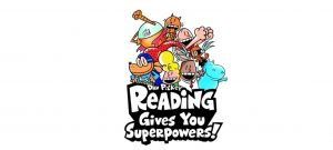 Dav Pilkey Reading Gives You Superpowers! logo with several of his illustrated characters