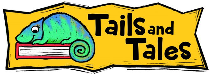 A green chameleon resting on a book next to the text Tails and Tales, the tage line of the 2021 Summer Reading Program at ELPL