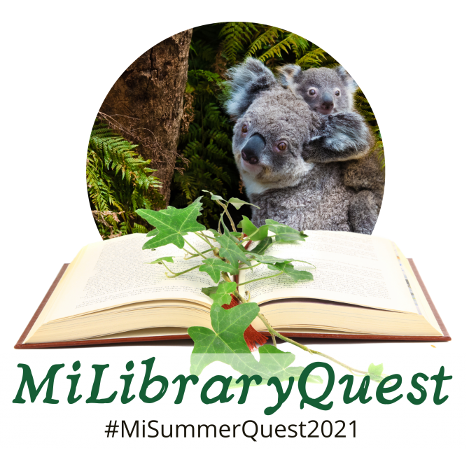 Mi Library Quest Summer 2021 logo - a mother and baby koala bear in a forest seated behind a book with leaves on it