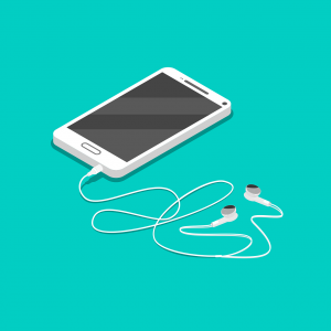 A smart phone connected to earbuds