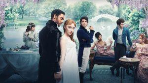 A still shot of the cast of Bridgerton, the popular Netflix series