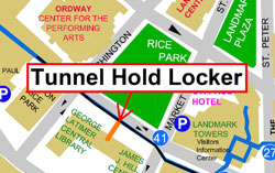 map showing tunnel hold locker location in the RiverCentre Connection tunnel in from of the Central Library