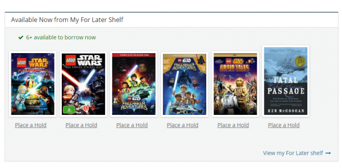"Available Now box, showing ""place a hold"" links."