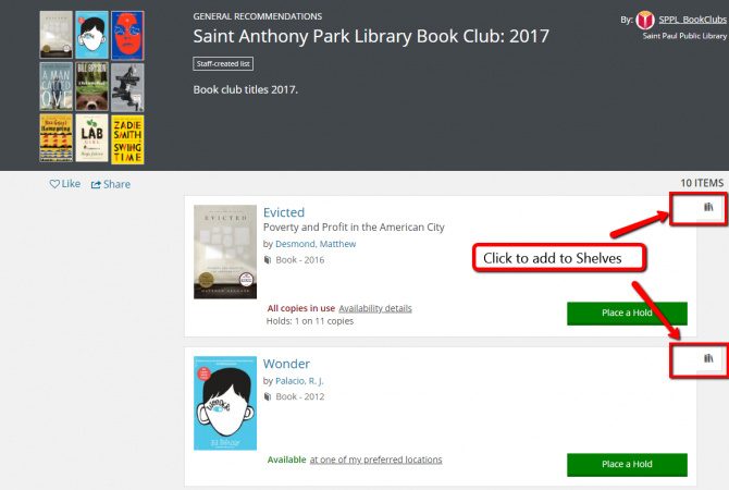 When browsing a list, click the Books icon to add items to your Shelves.