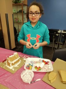 Gingerbread house making event for young children and their families at Hayden Heights Library (December 27, 2018).
