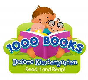 Image of person sitting on green chair reading to a baby and a small child. Caption says 1000 Books Before Kindergarten Read it and Reap!