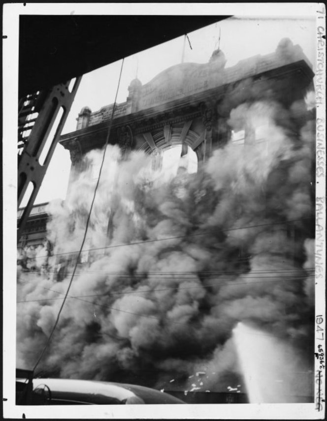 Ballantynes fire, Christchurch. New Zealand Free Lance : Photographic prints and negatives. Ref: PAColl-8163-27. Alexander Turnbull Library, Wellington, New Zealand. https://natlib.govt.nz/records/23204872