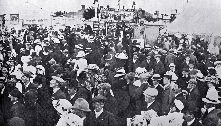A view of the crowd attending the Canterbury Agricultural and Pastoral Association's Metropolitan Show, held at the Addington Showgrounds [Nov. 1910] CCL PhotoCD 18, IMG0022