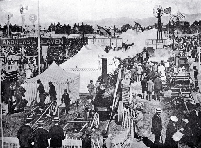 Carnival Week in Christchurch : the implement section of the Canterbury A & P Association's metropolitan show. [1899] CCL PhotoCD 2, IMG0029