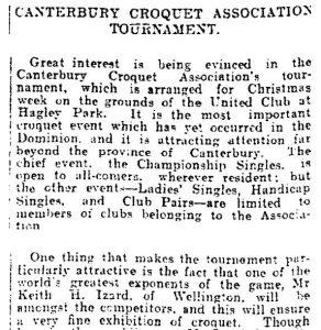 Canterbury Croquet Association Tournament, Press, Volume LXVI, Issue 13914, 13 December 1910