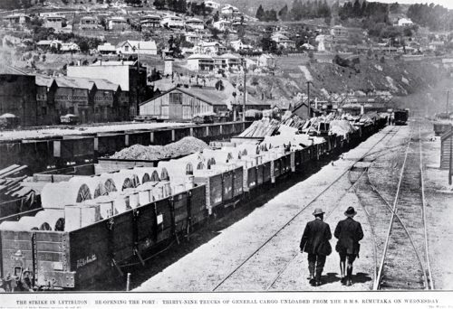 The port at Lyttelton re-opening after the strike : showing the rail-yards with 39 trucks of general cargo unloaded from the S.S. Rimutaka [1913] CCL PhotoCD 2, IMG0030