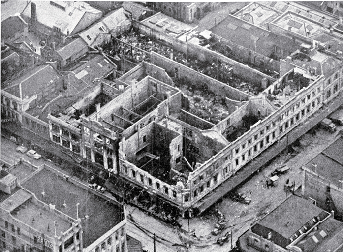 Aerial View of the Gutted Shell of the Three-Storied Department Building. CCL PhotoCD 1, IMG0016.