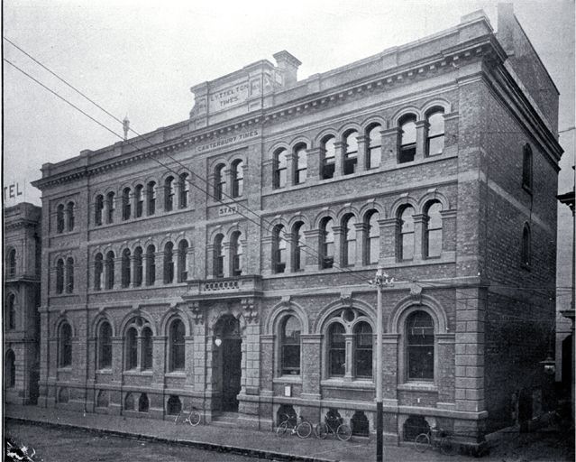 Image: Black and white photo of the Lyttelton Times office showing the Gloucester Street frontage [1884]