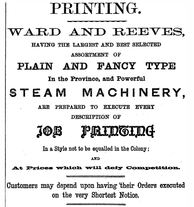 Image: An advertisement from 1871 for War and Reeves printing, showing many different fonts