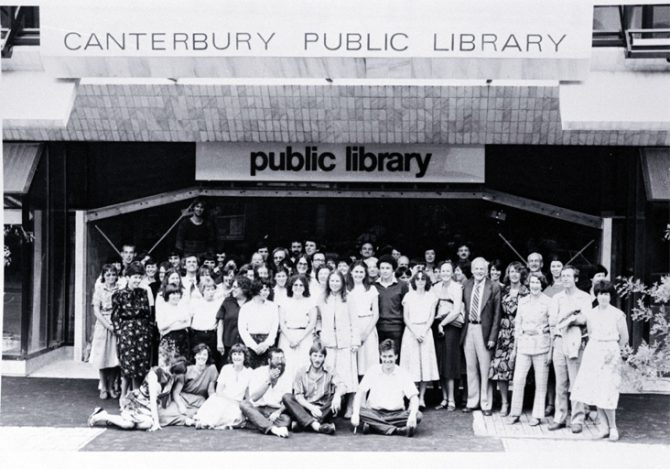 Canterbury Public Library staff outside the new library building on the corner of Gloucester Street and Oxford Terrace [1982] CCL PhotoCD 11, IMG0091