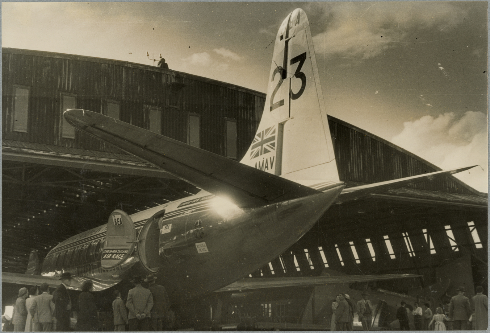 Tail of British European Airways Vickers Viscount 701. October 1953.