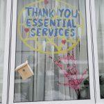 Thank you written on window