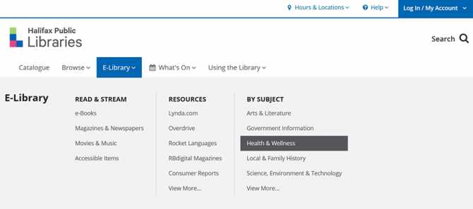 Screenshot of navigating from the library homepage