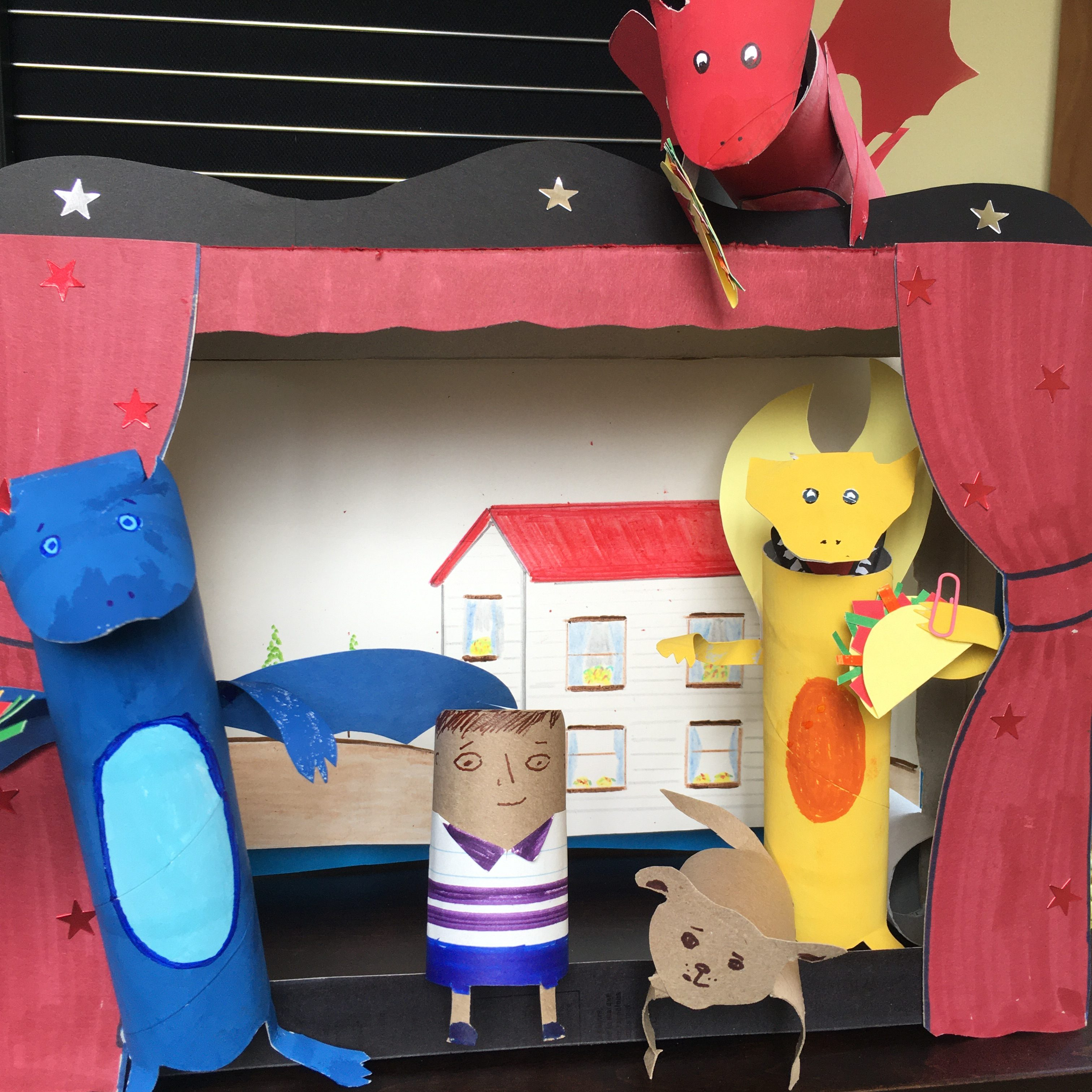 puppet theatre with cardboard tube puppets