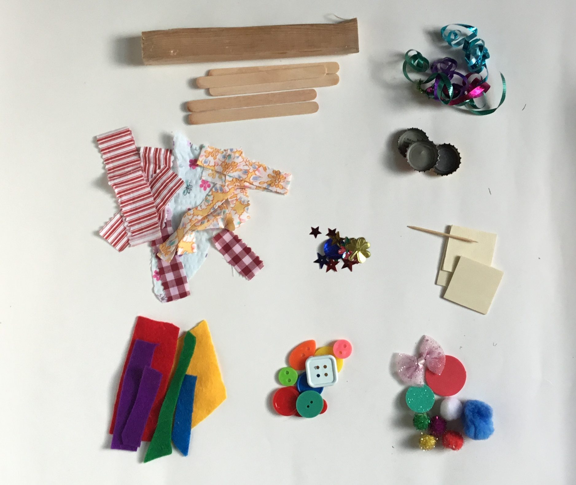 buttons, yarn, felt, embellishments