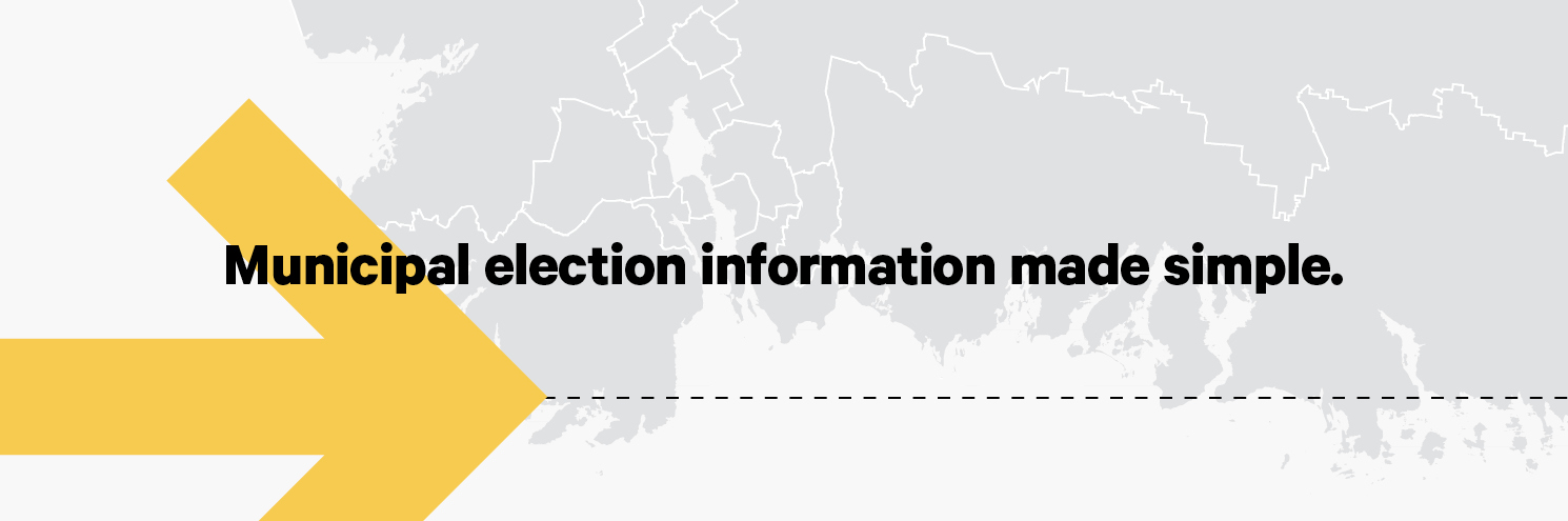 The text reads Municipal Election Information Made Simple. There is a big yellow arrow pointing to the right and a grey map of the Halifax municipality.