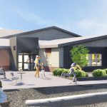 Exterior rendered image of the Dartmouth North Public Library renovation