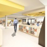 Interior rendered image of the Dartmouth North Public Library renovation