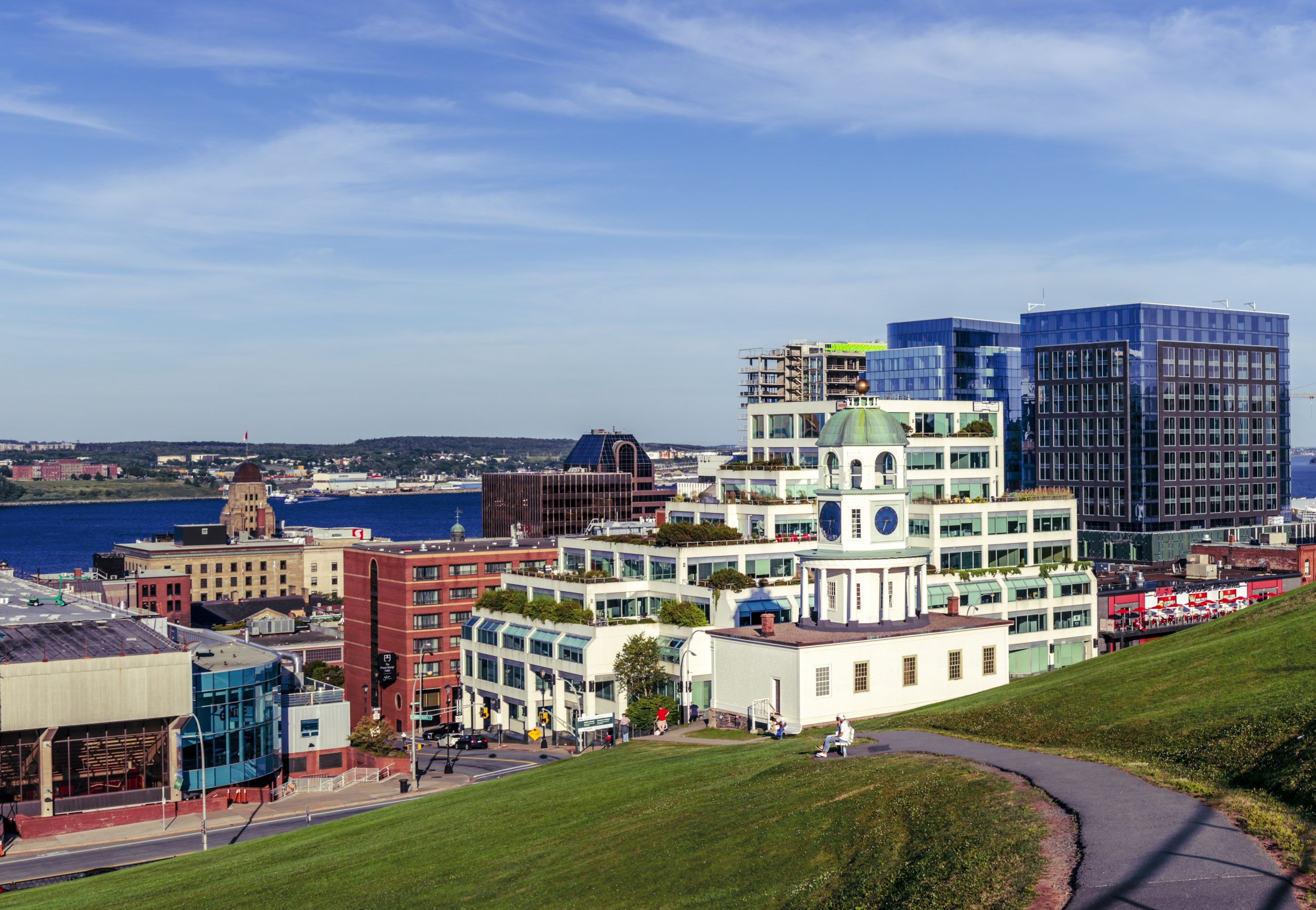 Photograph overlooking Halifax Town Clock and downtown buildings taken from the top of Citadel Hill.