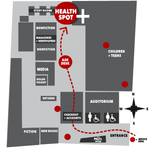 Map instructing visitors to the Health Spot at the library. From the entrance, go past the Merc kiosk and take a right through the checkout lobby and follow straight through to the far north end of the library's main floor. The Health Spot is located along the north wall.