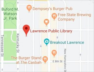 map of the area around the library from Google Maps