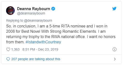 tweet from Deanna Raybourn
