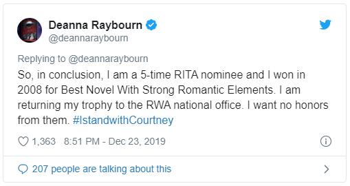 tweet from Deanna Raybourn