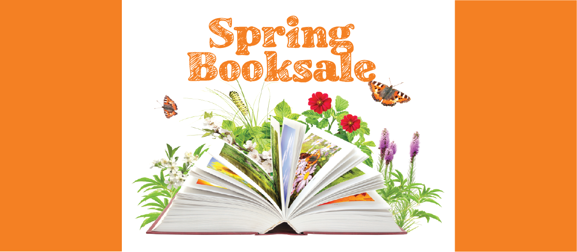 Open book with butterflies and flowers and text Spring Booksale