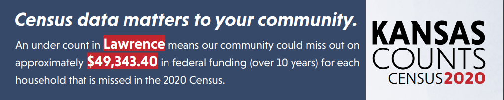 An under count in Lawrence means our community could miss out on approximately $49, 343.40 in federal funding (over 10 years) for each household that is missed in the 2020 census.