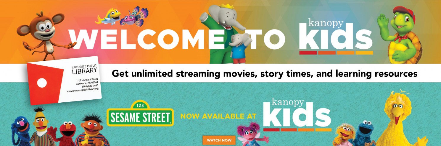 Image of popular children's characters from PBS and Kanopy logo
