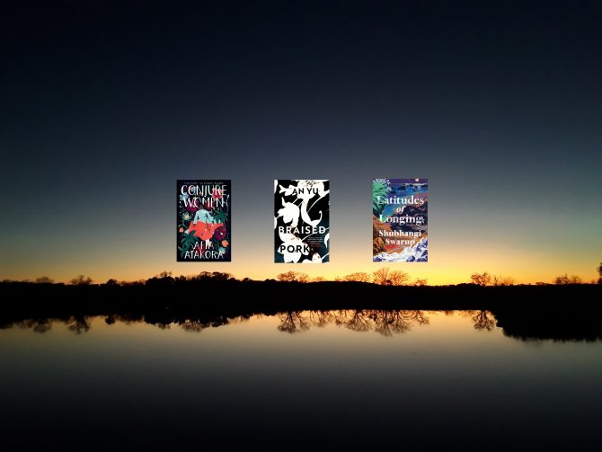 Image is of three book covers, side-by-side on top of a photo of the Wakarusa Wetlands at dusk with the horizon aglow. Trees at the waters' edge are reflected in the water.
