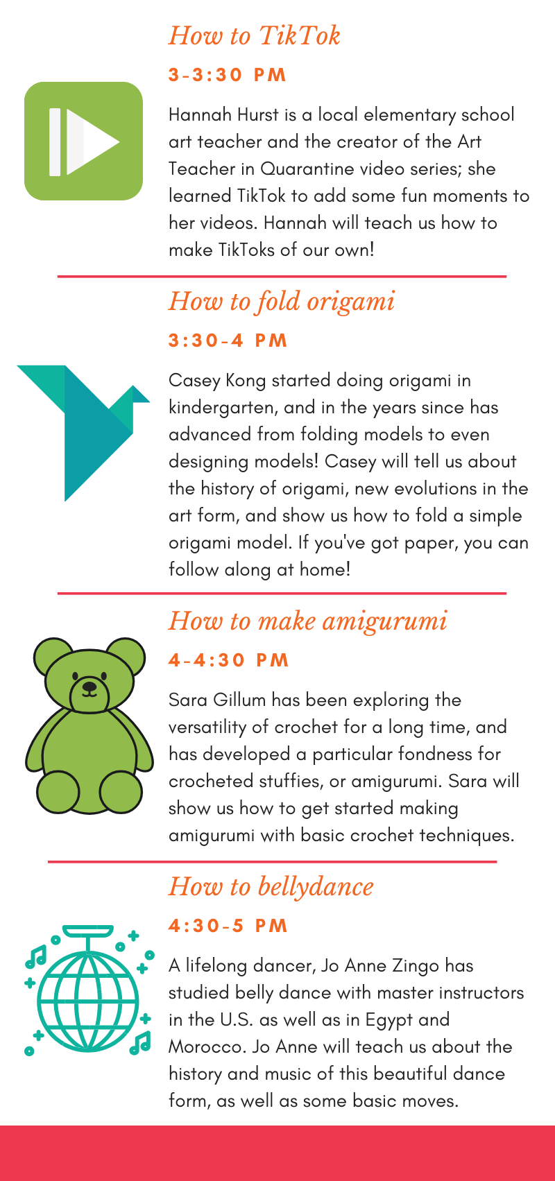 <p>Jun 20 Saturday Schedule  1:00 — Keep houseplants alive  1:30 — Brew beer at home  2:00 — Make rag rugs  2:30 — Yo-Yo  3:00 — TikTok  3:30 — Fold origami  4:00 — Crochet arigurumi  4:30 — Belly dance</p>