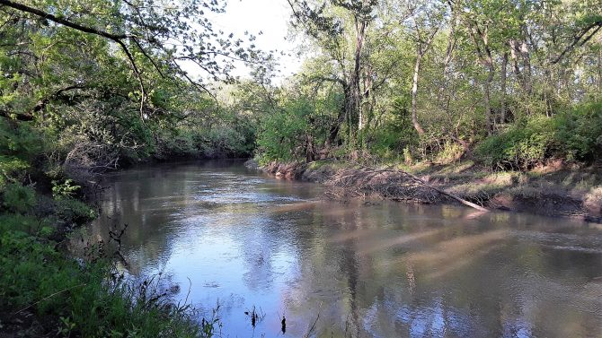 Image is of the Wakarusa River with tree lined shores and blue sky