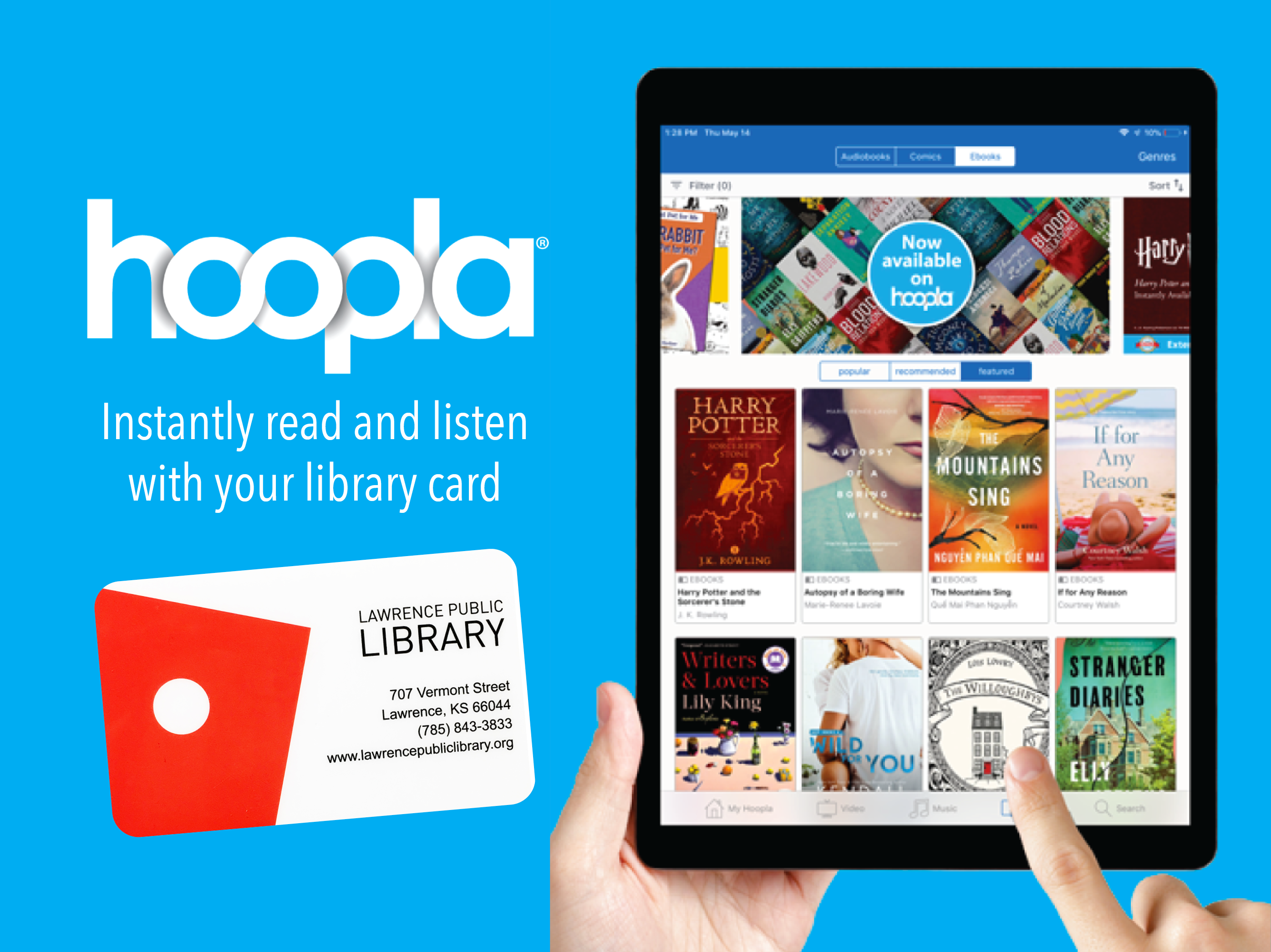 Web graphic for digital library hoopla