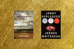 Image is of 2 book covers in front of a textured gold background
