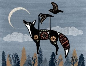 Image is of a fox looking into a crescent moon while suspended over trees by two birds in flight