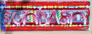 Image is of a brightly colored banner-style mural