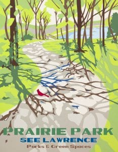 Image is of a red bird on the shaded walking trail at Prairie Park that leads to Mary's Lake