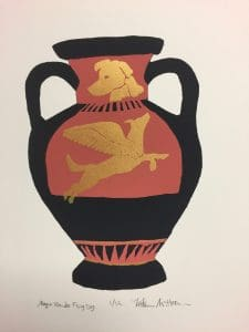 Image is of a flying dog printed in gold paint on a vase with handles