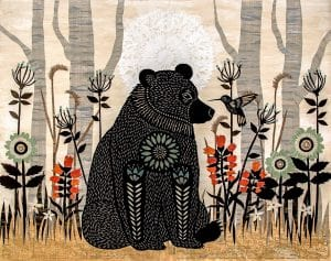 Image is of a beautiful nature scene with a large bear and small hummingbird seeing eye to eye