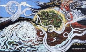 Image is of a mural depicting a great tree enduring a storm of turmoil