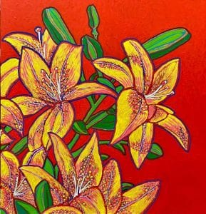 Image is of brightly painted lilies on a red background