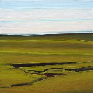 Image is of a painting of an open expanse of prairie
