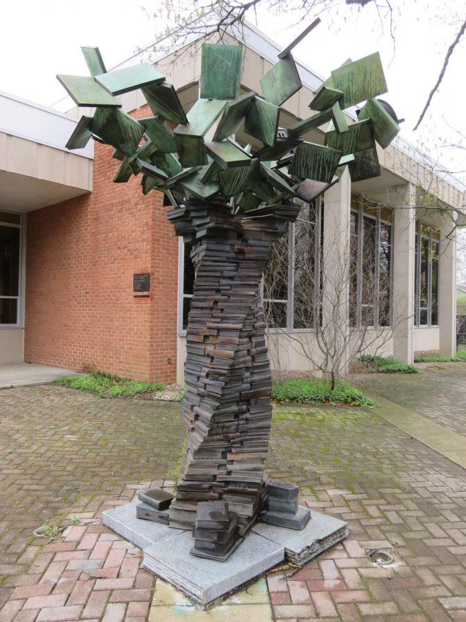 Bronze tree sculpture outside Yellow Springs Community Library